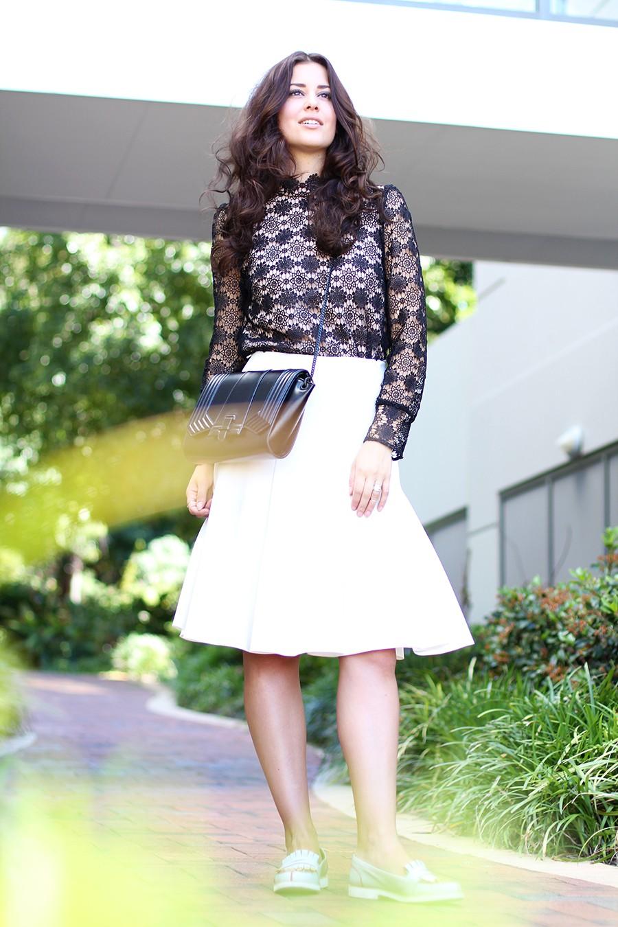 white-flared-skirt