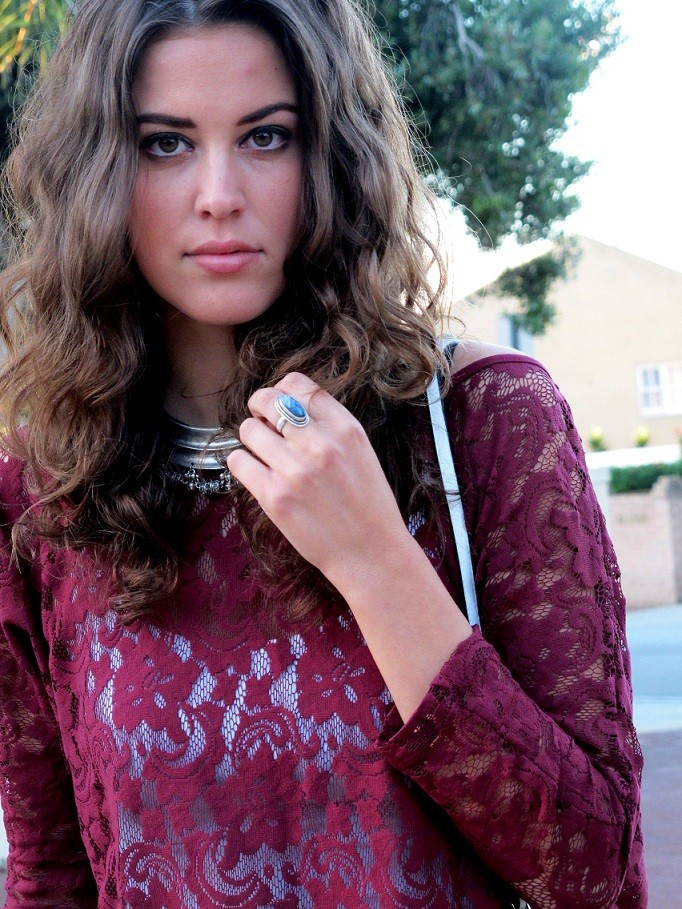 Burgundy lace