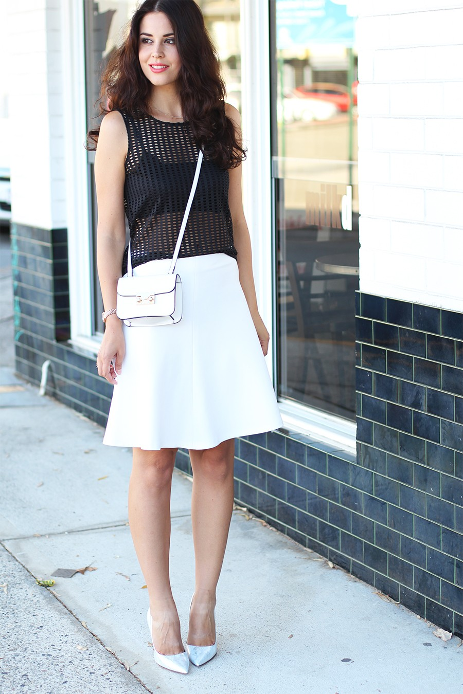 white-flared-skirt